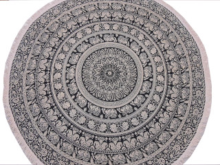 Black White Mandala Round Tablecloth - Elephant Block Print Cotton Fringed Table Overlay 70