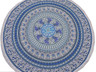 Blue Peacock Mandala Round Tablecloth - Elephant Print Cotton Fringed Table Overlay 70""