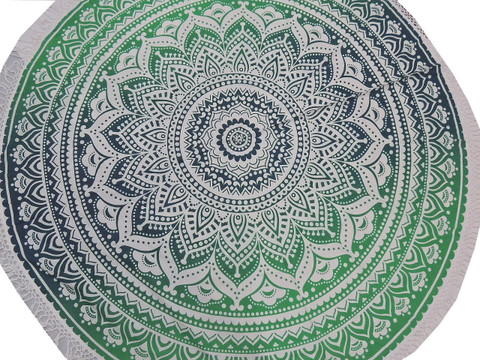 Green Blue Floral Round Tablecloth - Cotton Print Fringed Table Overlay 70""