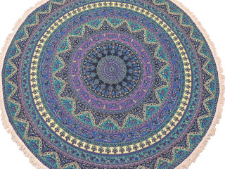 Multicolor Mandala Elephant Round Tablecloth - Cotton Print Fringed Table Overlay 70""