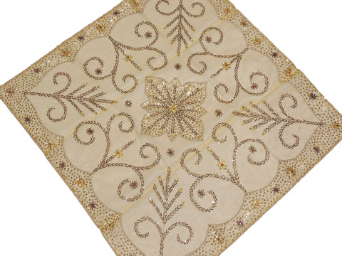 Cream Gold Beaded Decorative Tablecloth - Handmade Embroidered Table Topper ~ 40""
