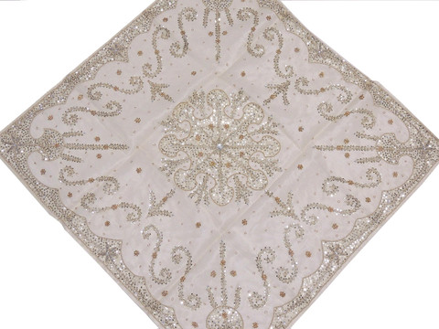 White Beaded Luxurious Organza Tablecloth - Handmade Table Topper ~ 40""