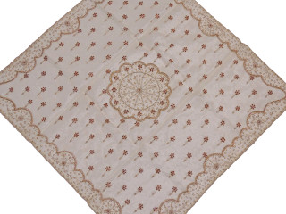 """Ivory Floral Beaded Organza Tablecloth - Handmade Decorative Table Topper ~ 40"""""""