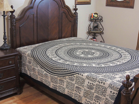 Elephant Print Wall Tapestry Bed Sheet - Antique White Cotton Bedding Linens ~ Full