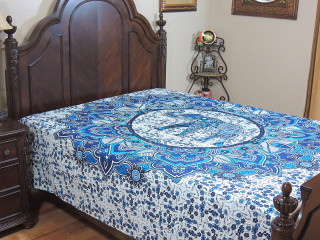 Blue White Elephant Bed Sheet - Cotton Printed Floral Tapestry Bedding ~ Full
