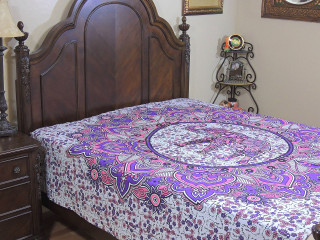 Purple Pink Peacock Elephant Duvet Cover - Cotton Reversible Comforter ~ Double