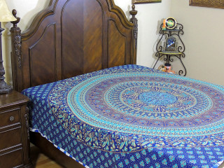 Peacock Elephant Mandala Duvet Cover - Blue Cotton Reversible Comforter ~ Double