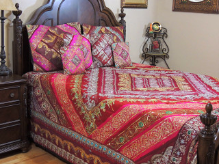 Maroon Magenta Indian Bedding- Sari Beaded Duvet with Pillows Cushion Covers ~ King