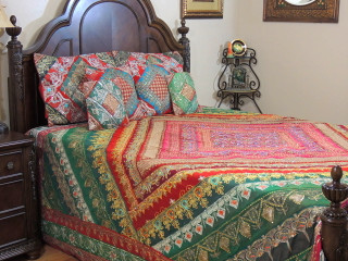 Red Green Indian Bedding- Sari Beaded Duvet with Pillows Cushion Covers ~ King