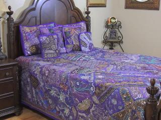 Purple Decorative Beaded Sari Bedding - Artisan Handmade Duvet Pillow Shams ~ King