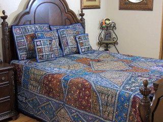 Blue Decorative Beaded Sari Bedding - Artisan Handmade Duvet Pillow Shams ~ King