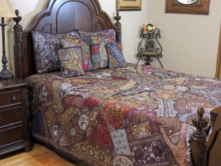 Brown Decorative Beaded Sari Bedding - Artisan Handmade Duvet Pillow Shams ~ King