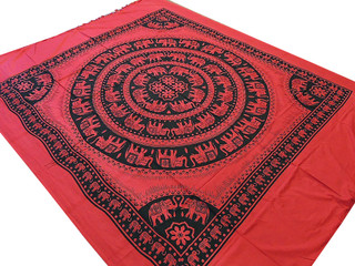 Beautiful Mandala Patterned Bedding Elephant Cotton Print Indian Flat Sheet Full