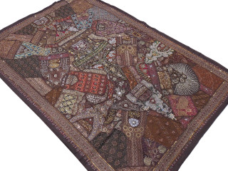 Dark Brown Indian Decorative Tapestry - Sari Patchwork Handmade Huge Wall Hanging 90""