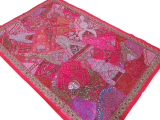 Hot Pink Indian Decorative Tapestry - Sari Patchwork Handicraft Huge Wall Hanging 90""