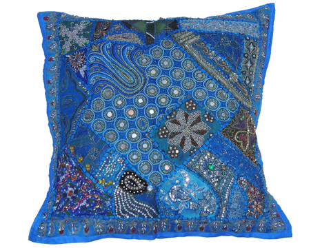 Blue Bollywood Floor Pillow Cover - Square Beaded Large Accent Euro Sham ~ 26 Inch