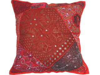 Red Maroon Bollywood Floor Pillow Cover - Square Beaded Large Accent Euro Sham ~ 26 Inch