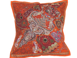 Orange Bollywood Floor Pillow Cover - Square Beaded Large Accent Euro Sham ~ 26 Inch