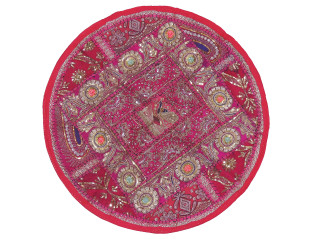 Magenta Round Peacock Floor Pillow Cover - Zari Embroidery Patchwork Indian Cushion 26""