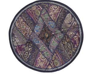 Black Round Sari Floor Pillow Cover - Zari Sequin Patchwork Indian Cushion 26""