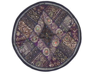 Black Round Floor Pillow Cover - Zari Embroidery Patchwork Indian Cushion 26""