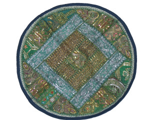 Green Round Sari Floor Pillow Cover - Zari Sequin Patchwork Indian Cushion 26""