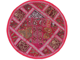 Magenta Round Decorative Floor Pillow Cover - Kundan Sari Patchwork Cushion 26""