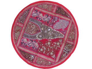 Magenta Round Sari Patchwork Floor Pillow Cover - Kundan Beaded Cushion 26""
