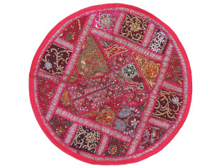Magenta Living Room Floor Pillow Cover - Round Ethnic Kundan Patchwork Cushion 26""