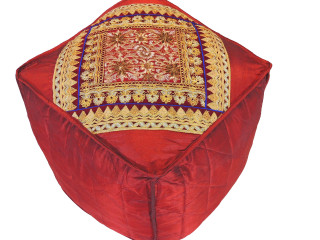 """Burgundy Floor Seating Pouf Cover - Zari Embroidered Traditional Indian Ottoman 18"""""""
