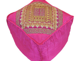 """Hot Pink Floor Seating Comfy Pouf Cover - Zari Embroidered Indian Ottoman 18"""""""