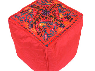 Red Peacock Floral Embroidered Pouf Cover - Indian Inspired Ottoman Seating 16""