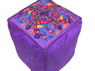 """Purple Peacock Floral Embroidered Pouf Cover - Indian Inspired Ottoman Seating 16"""""""