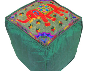 """Green Elephant Floral Embroidered Pouf Cover - Indian Inspired Ottoman Seating 16"""""""