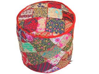 """Round Bohemian Embroidered Pouf Cover - Handmade Indian Style Ottoman 18"""""""