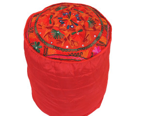 """Red Floral Embroidery Circular Pouf Cover - Traditional Indian Floor Seating Ottoman 16"""""""