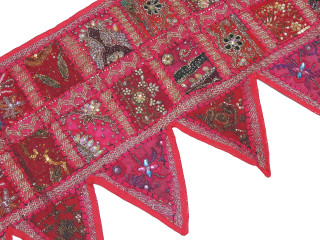 Magenta Beautiful Living Room Valance - Kundan Patchwork Elegant Window Toran 60""