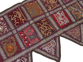 Brown Beautiful Living Room Valance - Kundan Patchwork Elegant Window Toran 60""