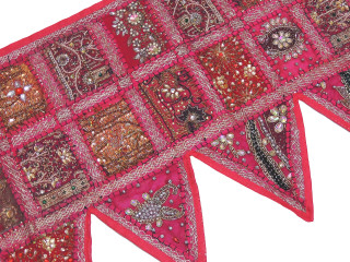 Magenta Handmade Window Door Topper Valance - Kundan Patchwork Decorative Toran 60""