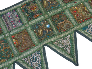 Green Beautiful Living Room Valance - Kundan Patchwork Elegant Window Toran 60""