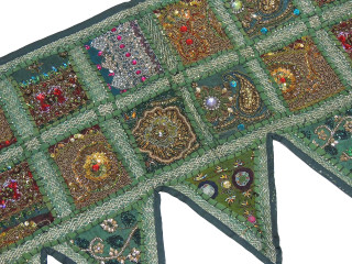 Green Beautiful Door Topper Valance - Kundan Elegant Window Covering Toran 60""