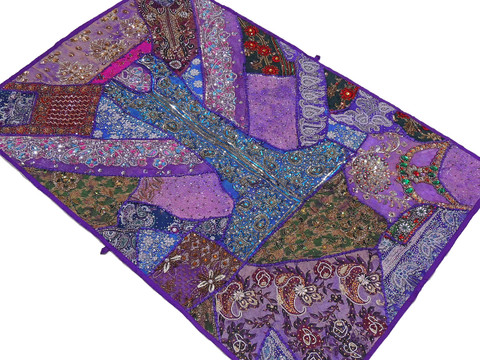 """Purple Living Room Wall Hanging - Beaded Decorative Indian Decor Tapestry 60"""""""