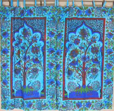 Blue Peacock Curtains - 2 Tree of Life Handmade Cotton Window Panels 82""