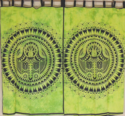 Green Mandala Curtain Panels from India - 2 Cotton Print Window Treatments 78""
