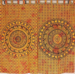 Wood Brown Elephant Mandala Curtain Panels - 2 Cotton Indian Window Treatments 78""