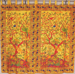 Yellow Tree of Life Curtains from India - 2 Elegant Cotton Print Window Panels 82""