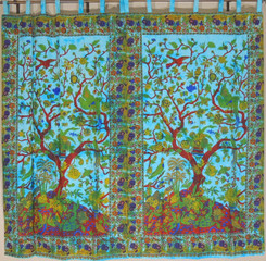 Blue Tree of Life Curtains from India - 2 Elegant Cotton Print Window Panels 82""