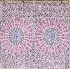 Pink Peacock Tail Fan Curtains - 2 Bohemian Handmade Cotton Window Panels 82""
