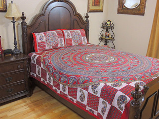 Block Print Mandala Bedding 3P Paisley Jaipur Full Comfort Cotton Flat Sheet