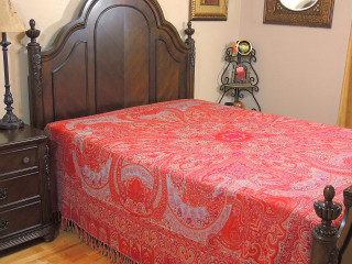 Crimson Cashmere Warm Wool Bedding - Paisley Kohinoor Woven Throw Blanket ~ Queen